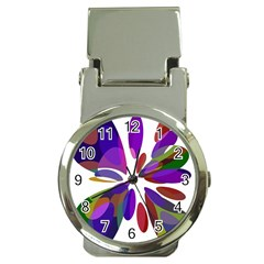 Colorful abstract flower Money Clip Watches