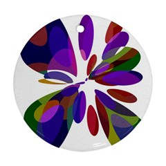 Colorful abstract flower Round Ornament (Two Sides)