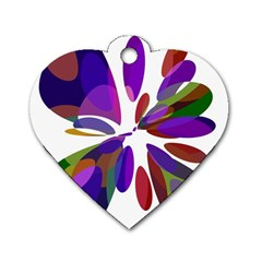Colorful abstract flower Dog Tag Heart (Two Sides)
