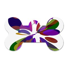 Colorful abstract flower Dog Tag Bone (Two Sides)