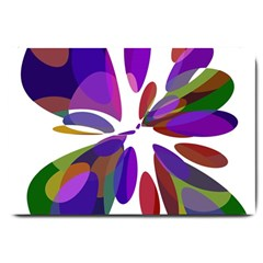 Colorful abstract flower Large Doormat