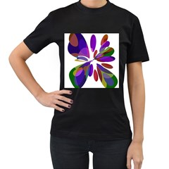 Colorful abstract flower Women s T-Shirt (Black)