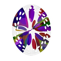 Colorful abstract flower Oval Filigree Ornament (2-Side)