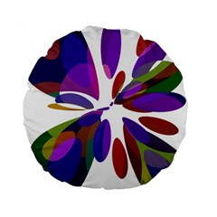 Colorful abstract flower Standard 15  Premium Round Cushions