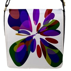 Colorful abstract flower Flap Messenger Bag (S)