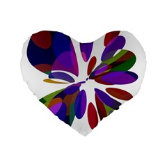Colorful abstract flower Standard 16  Premium Flano Heart Shape Cushions
