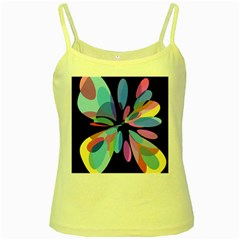 Blue abstract flower Yellow Spaghetti Tank