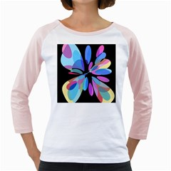 Blue abstract flower Girly Raglans