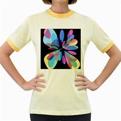 Blue abstract flower Women s Fitted Ringer T-Shirts