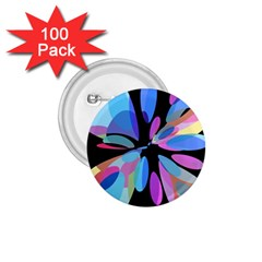 Blue abstract flower 1.75  Buttons (100 pack)