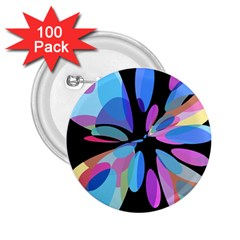 Blue abstract flower 2.25  Buttons (100 pack)