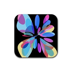 Blue abstract flower Rubber Coaster (Square)