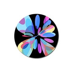 Blue abstract flower Magnet 3  (Round)