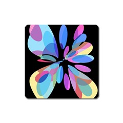 Blue abstract flower Square Magnet