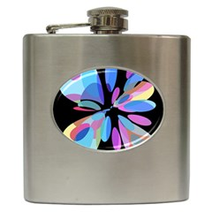 Blue abstract flower Hip Flask (6 oz)