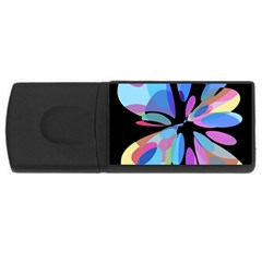 Blue abstract flower USB Flash Drive Rectangular (1 GB)