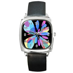 Blue abstract flower Square Metal Watch