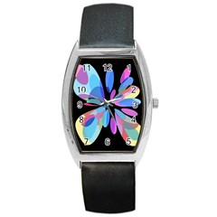 Blue abstract flower Barrel Style Metal Watch