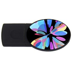 Blue abstract flower USB Flash Drive Oval (4 GB)