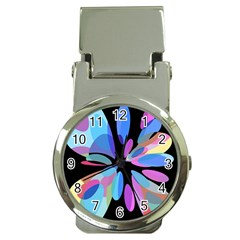 Blue abstract flower Money Clip Watches