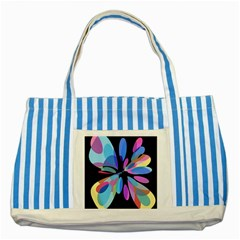 Blue abstract flower Striped Blue Tote Bag