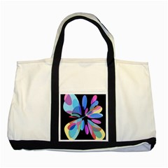 Blue abstract flower Two Tone Tote Bag