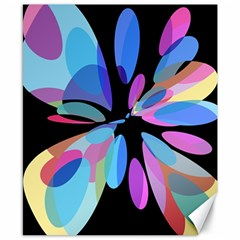 Blue abstract flower Canvas 8  x 10