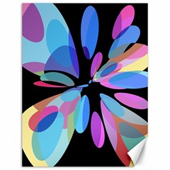 Blue abstract flower Canvas 12  x 16
