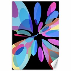 Blue abstract flower Canvas 12  x 18