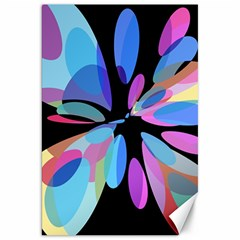 Blue abstract flower Canvas 20  x 30