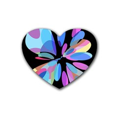 Blue abstract flower Rubber Coaster (Heart)