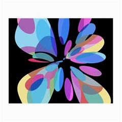 Blue abstract flower Small Glasses Cloth (2-Side)