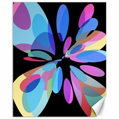 Blue abstract flower Canvas 11  x 14