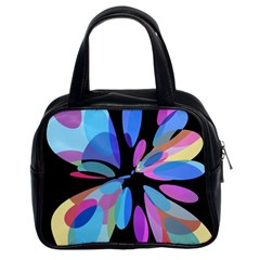 Blue abstract flower Classic Handbags (2 Sides)