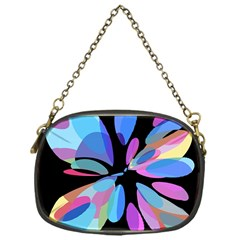 Blue abstract flower Chain Purses (One Side)