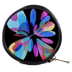Blue abstract flower Mini Makeup Bags