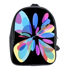 Blue abstract flower School Bags(Large)