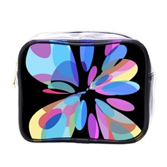 Blue abstract flower Mini Toiletries Bags
