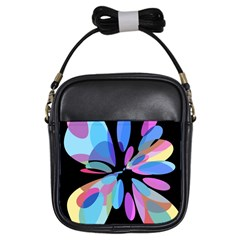 Blue abstract flower Girls Sling Bags