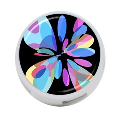 Blue abstract flower 4-Port USB Hub (Two Sides)