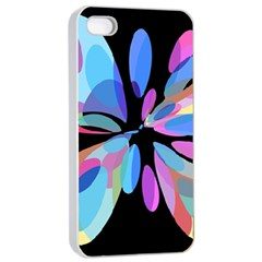 Blue abstract flower Apple iPhone 4/4s Seamless Case (White)