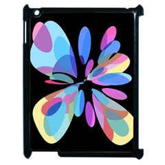 Blue abstract flower Apple iPad 2 Case (Black)
