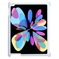 Blue abstract flower Apple iPad 2 Case (White)