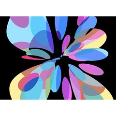 Blue abstract flower Birthday Cake 3D Greeting Card (7x5)