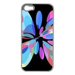 Blue abstract flower Apple iPhone 5 Case (Silver)