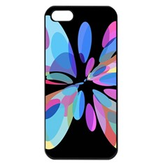 Blue abstract flower Apple iPhone 5 Seamless Case (Black)