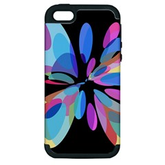 Blue abstract flower Apple iPhone 5 Hardshell Case (PC+Silicone)