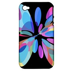 Blue abstract flower Apple iPhone 4/4S Hardshell Case (PC+Silicone)