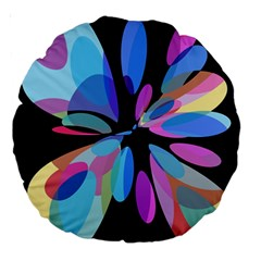 Blue abstract flower Large 18  Premium Round Cushions