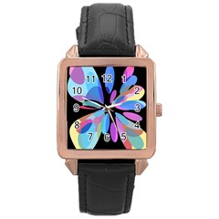 Blue abstract flower Rose Gold Leather Watch